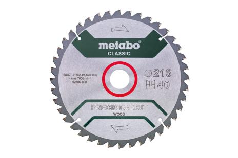 "Zāģa plātne ""precision cut wood – classic"", 216x30, Z40 WZ 5°neg. (628060000)"
