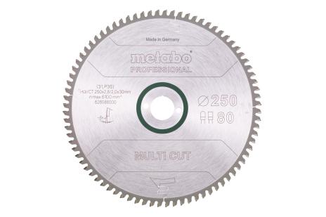 Ripzāģmašīnu asmens HW/CT, 250x30 mm, 80 plakani/trapecveida zobi, 5° neg. (628088000)