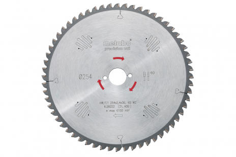 Ripzāģmašīnu asmens HW/CT, 250x30 mm, 60 pamīšus izvietoti zobi, 5° neg. (628048000)