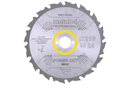 "Zāģa plātne ""power cut wood– professional"", 216x30, Z24 WZ 5° neg. (628009000)"