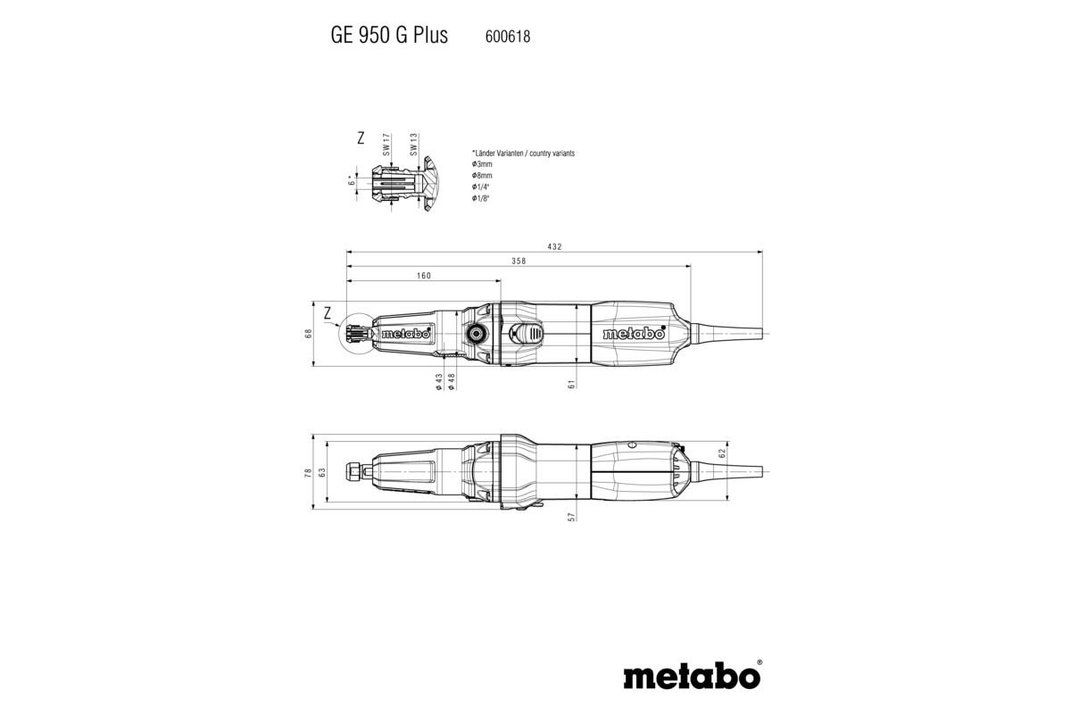 GE 950 G Plus (600618000) Rechte slijpers   Metabo Elektrisch ...