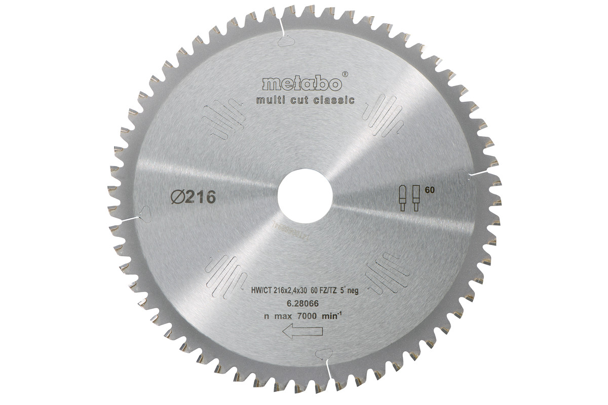 Sirkelsagblad HW/CT 216x30, 60 FZ/TZ, 5° neg. (628066000)
