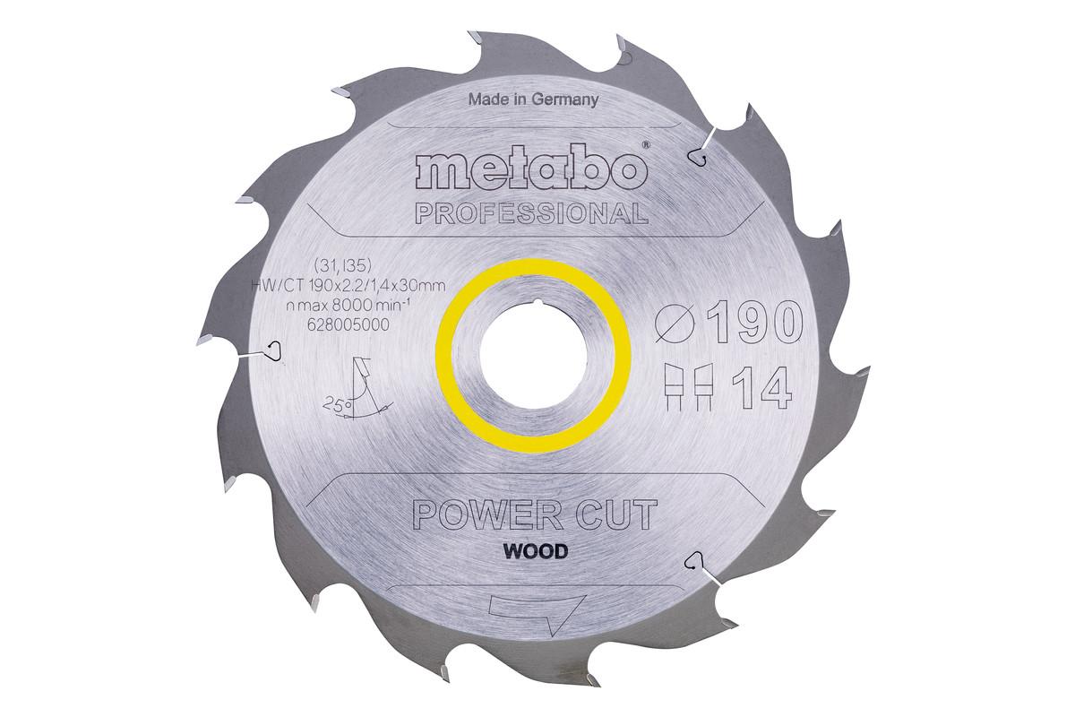 """Saw blade """"power cut wood - professional"""", 190x30, Z14 WZ 25° (628005000)"""