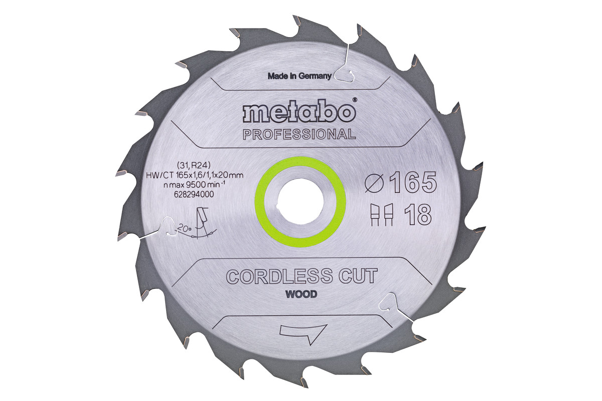 "Saw blade ""cordless cut wood - professional"", 160x20 (16), Z24 WZ 22° (628030000)"