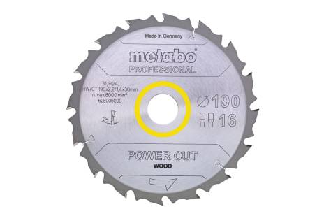 "Saw blade ""power cut wood - professional"", 190x30, Z14 WZ 25° (628005000)"