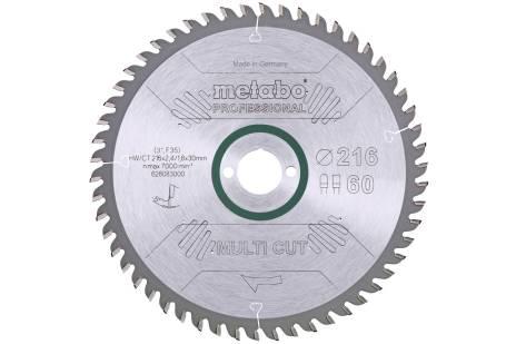 """Saw blade """"multi cut - professional"""", 216x30, Z60 FZ/TZ, 5°neg. (628083000)"""