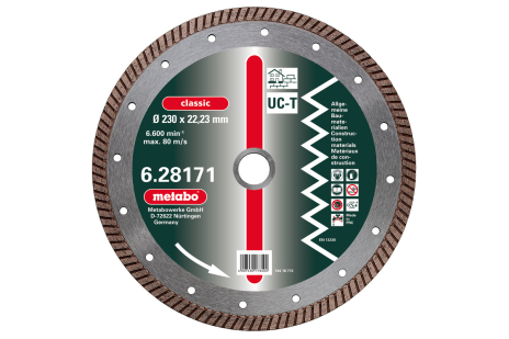 "Tarcza diamentowa, 230x2,5x22,23mm, ""classic"", ""UC-T"", Turbo, uniwersalna (628171000)"