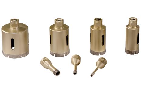"""Komplet diamentowych wierteł koronowych do glazury """"Dry"""", 7 elementów, M14 (628317000)"""