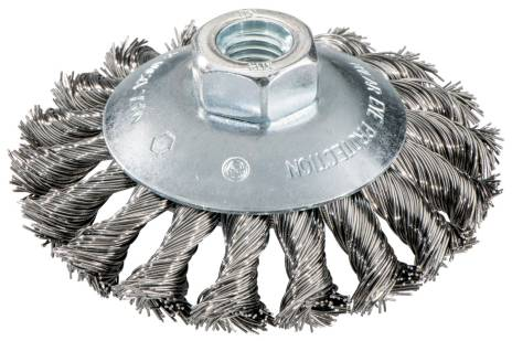Szczotka obwodowa zagięta 100x0,5x10 mm / M 14, z drutu stalowego, pleciona (623803000)