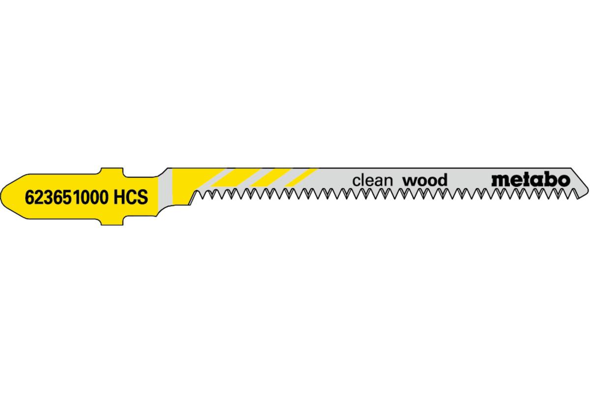 5 лобзиковых пилок, серия «clean wood», 57/ 1,4мм (623651000)