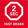 Дисковый тормоз Metabo   останавливает диск, двигающийся по инерции, за 2 секунды, что уменьшает опасность аварии