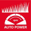 Автоматическая настройка мощности двигателя в зависимости от высоты травы для обеспечения максимального значения времени работы от аккумулятора
