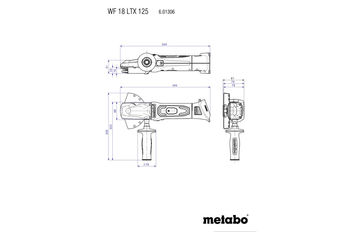 WF 18 LTX 125 Quick (601306660) Batteridrivna vinkelslipmaskiner med platt huvud