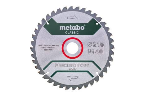 "Sågblad ""precision cut wood - classic"", 216x30, Z40 WZ 5°neg. (628060000)"