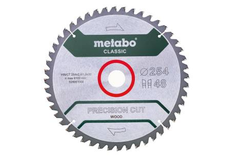 """Sågblad """"precision cut wood - classic"""", 254x30, Z48 WZ 5°neg. (628061000)"""