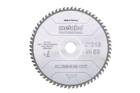 """Sågblad """"aluminium cut - professional"""", 216x30 Z58 FZ/TZ 5°neg (628443000)"""