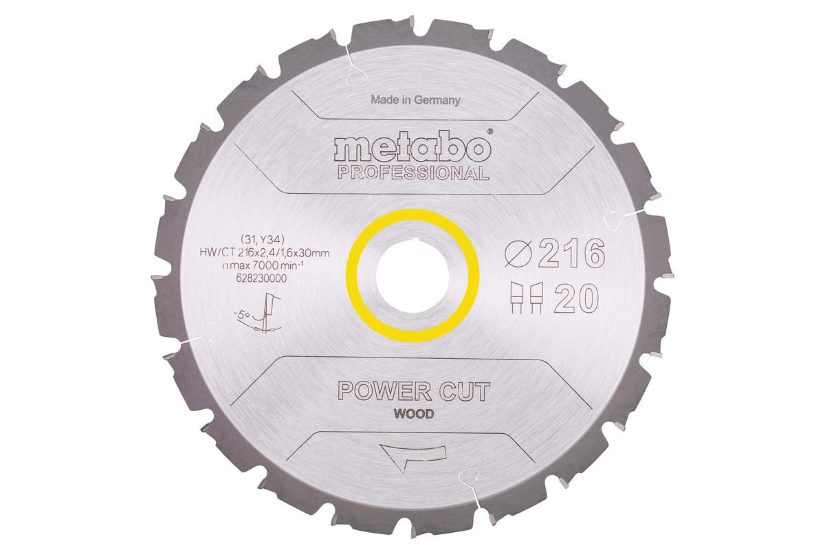 List krožne žage HW/CT 216x30, 20 izm. zob 5° neg. (628230000)