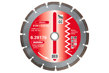 "Diamantna rezalna plošča, 180x2,3x22,23mm, ""classic"", ""CC"", beton (628175000)"