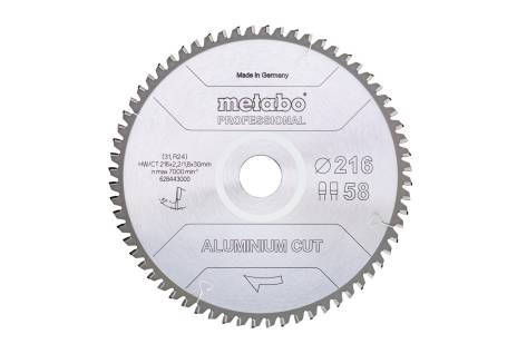 "List žage ""aluminium cut - professional"", 216x30 Z58 FZ/TZ 5°neg (628443000)"