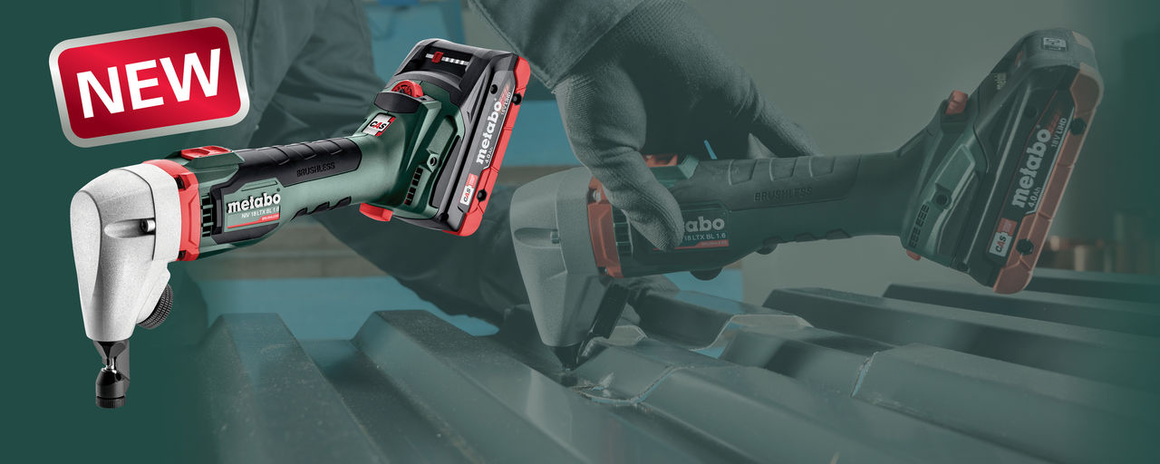 Powerful cordless nibbler for cutting of flat and shaped sheets
