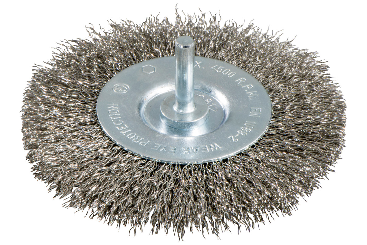 Wheel brush 100x0.3 mm/ 6mm, stainless steel, crimped (630551000)
