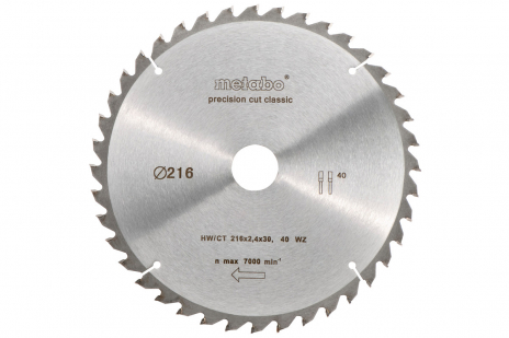 Circular saw blade HW/CT 216 x 30, 40 WZ 5° neg., classic (628060000)