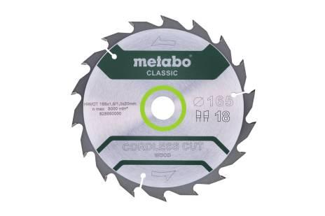 "Saw blade ""cordless cut wood - classic"", 165x20 Z18 WZ 20° /B (628650000)"