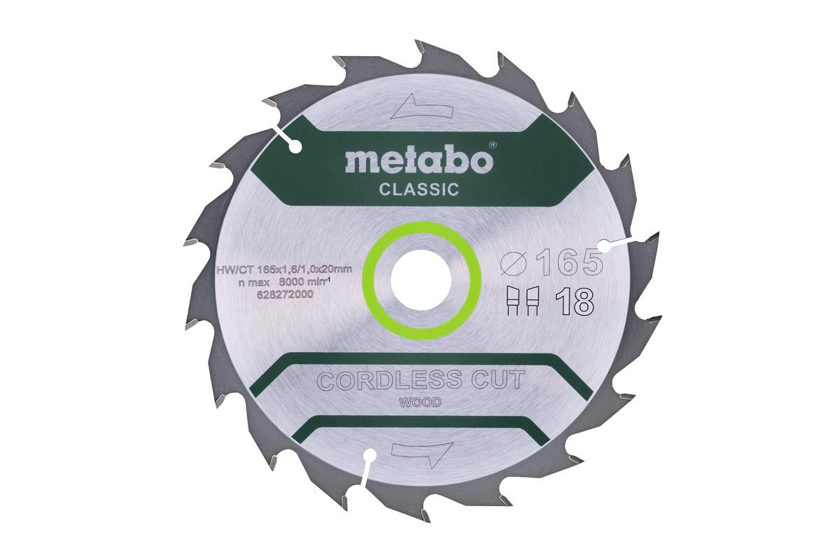 Circular saw blade HW/CT 165x20, 18 WZ 20°, classic (628272000)