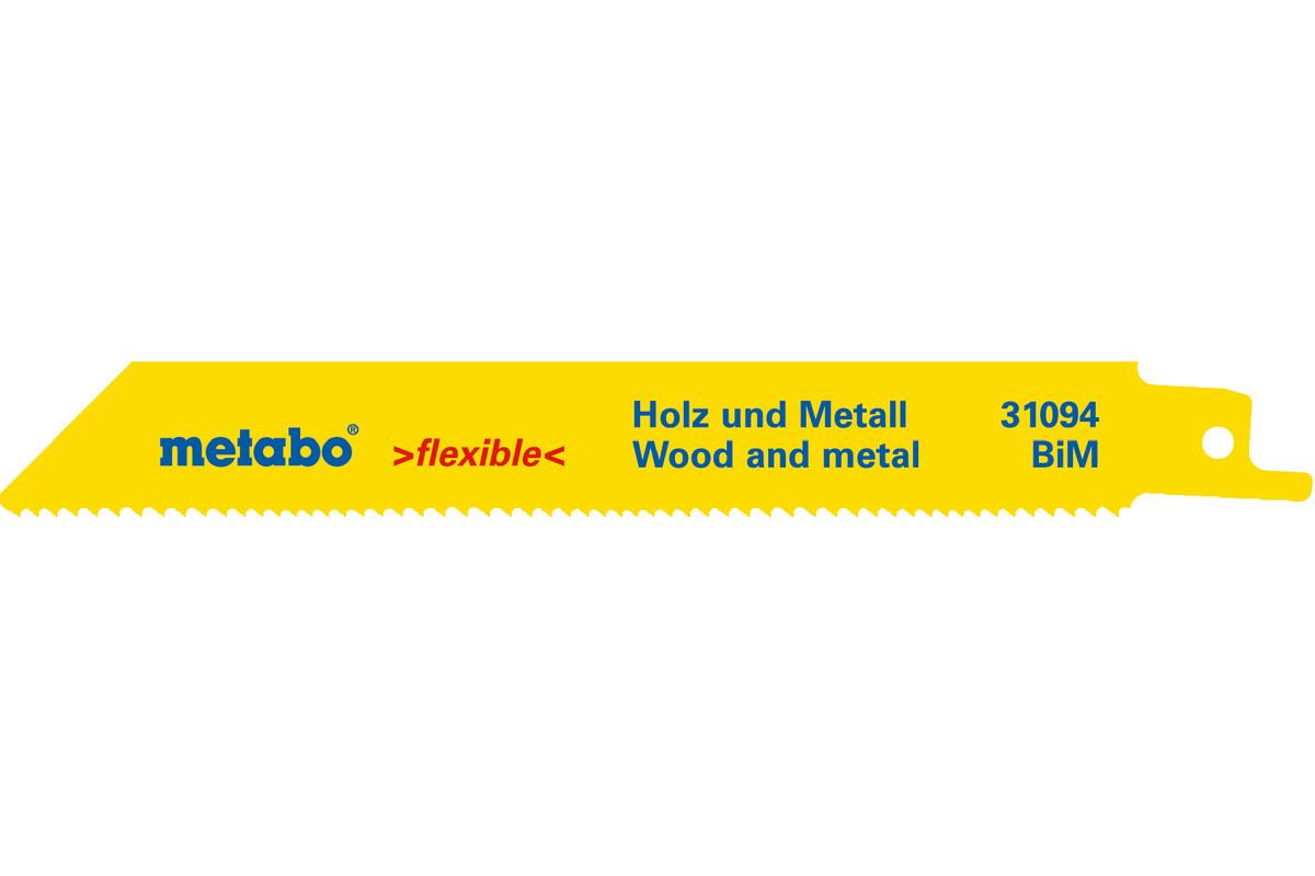5 Reciprocating saw blades, W+M, flexible, 150 x 0.9 mm (631492000)