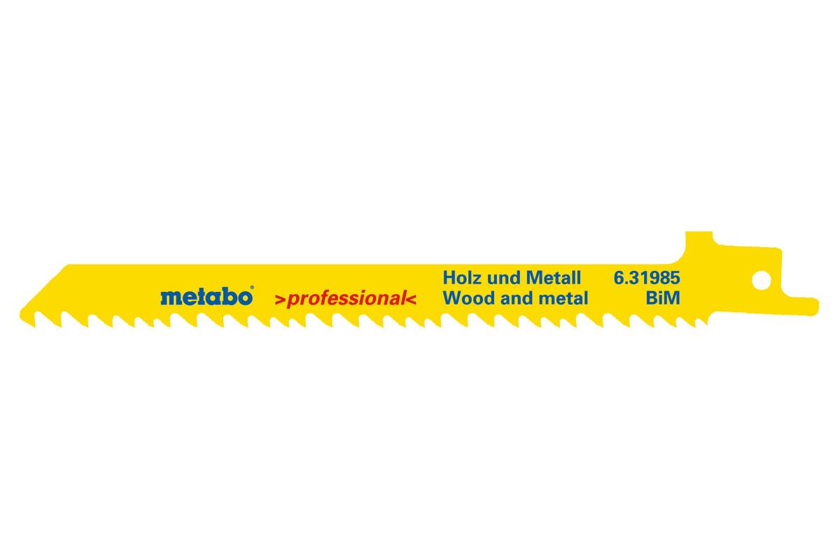 5 Reciprocating saw blades, wood, flexible, 150 x 1.25 mm (631985000)