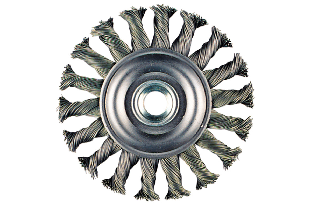 "Wire Wheel Brush 4"" x 3/8"" x 7/8"" x 5/8""-11, Stainless (655221000)"