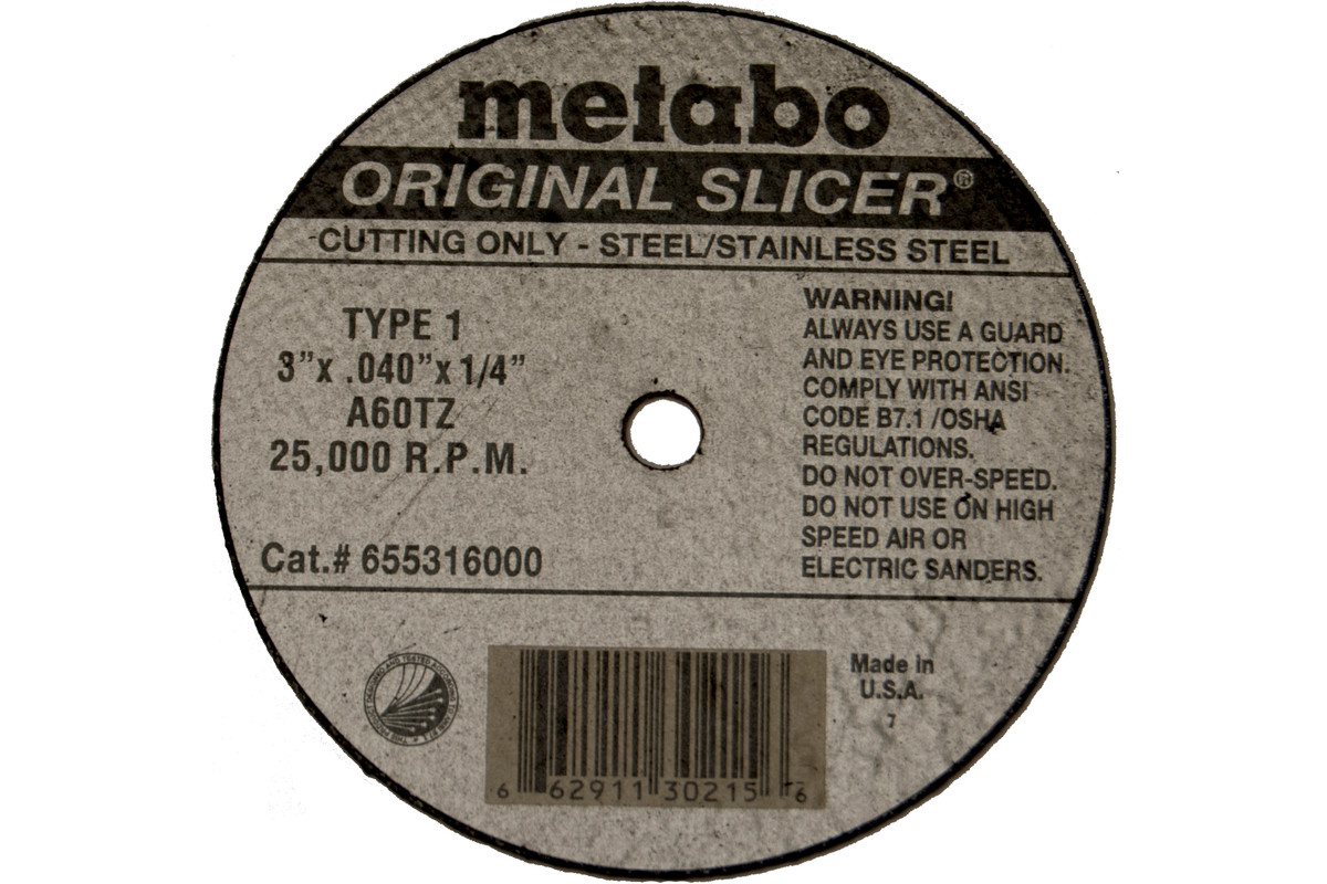 "Original Slicer 4"" x .040"" x 3/8"", Type 1, A60TZ (655323000)"
