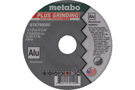 "Plus Grinding 4-1/2"" x 1/4"" x 5/8""-11, Type 27, A36M (655748000)"