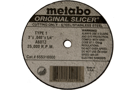 "Original Slicer 3"" x .040"" x 1/4"", Type 1, A60TZ (655316000)"