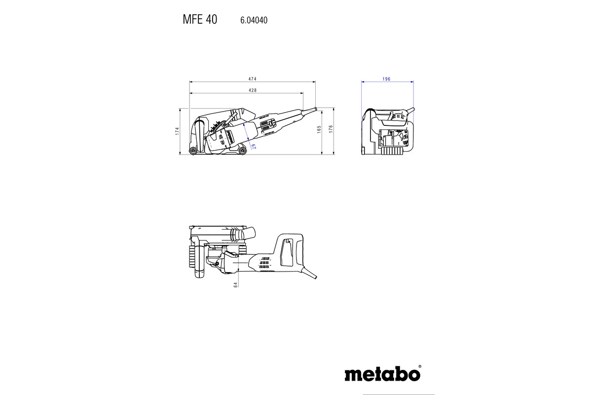 Mfe 40 (604040620) Wall Chaser Metabo Power Tools Metabo Grinder  Replacement Parts Metabo Wiring Diagram