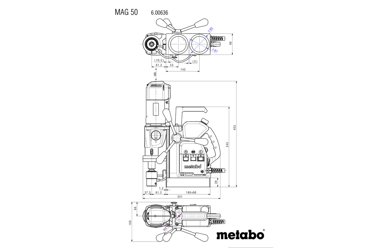 Mag 50 600636620 Magnetic Core Drill Metabo Power Tools